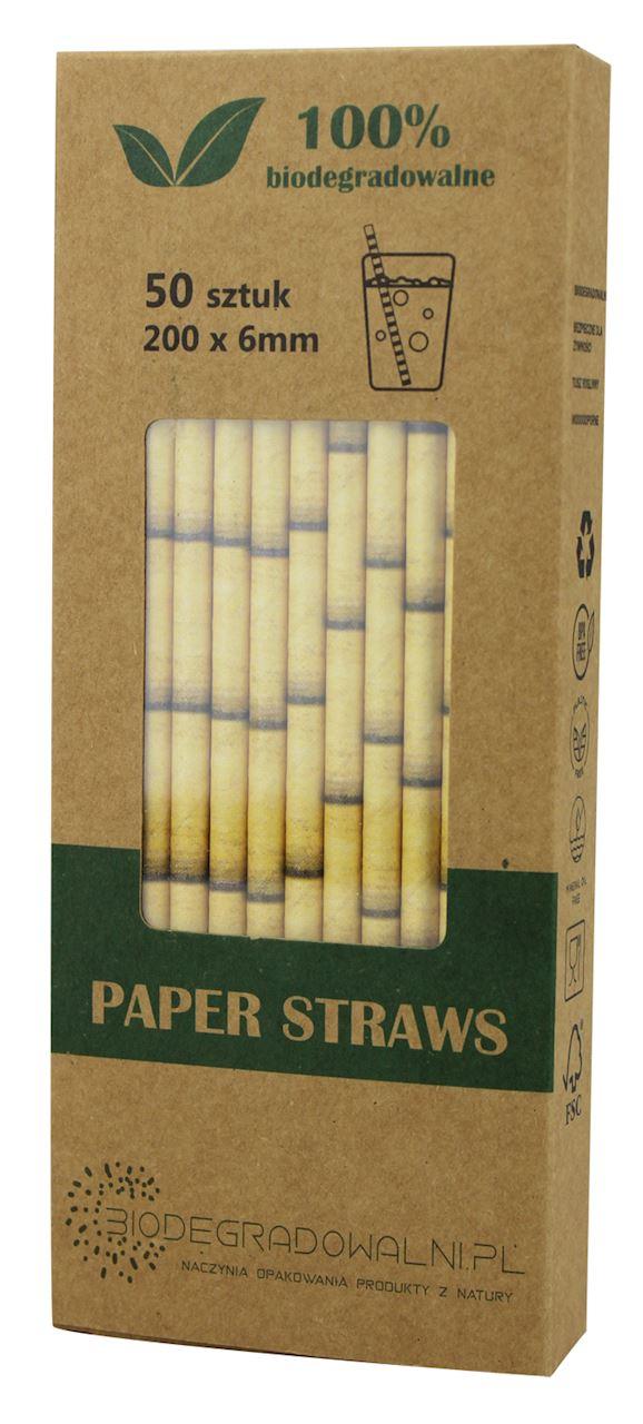 Biodegradowalni słomki papierowe bambus żółty