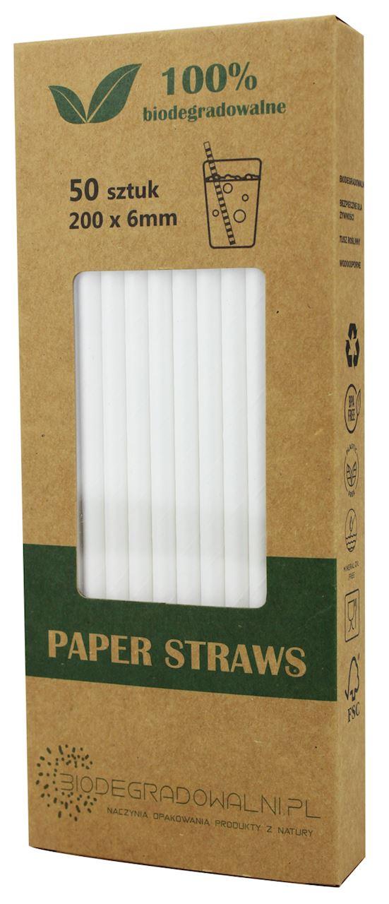 Biodegradowalni słomki papierowe białe