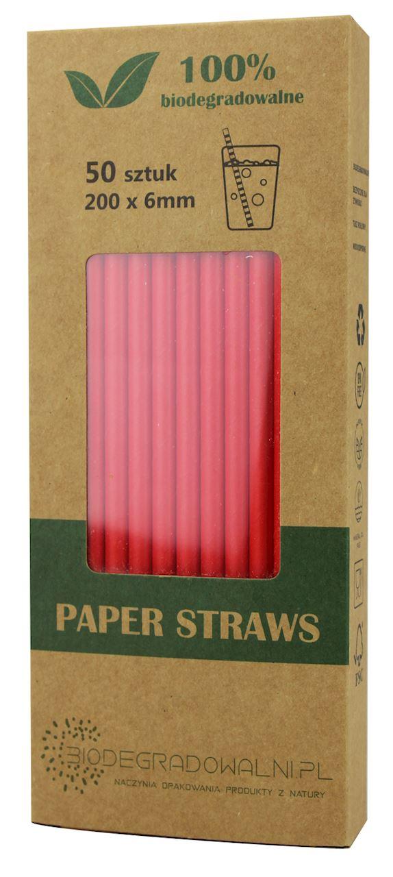 Biodegradowalni słomki papierowe czerwone