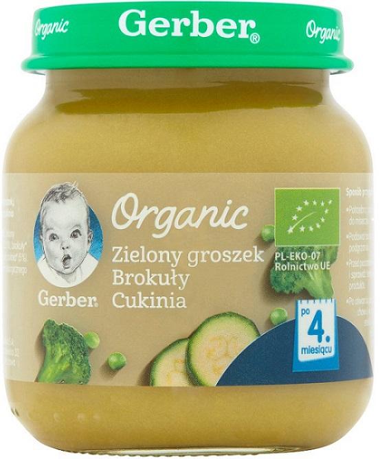 Gerber Organic Zielony groszek, brokuły,cukinia BIO