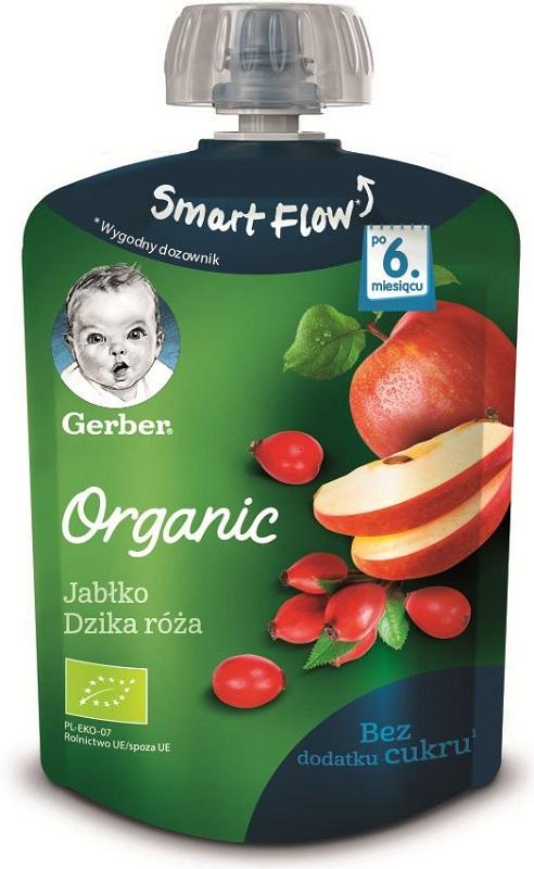 Gerber Organic Deserek jabłko,  dzika róża