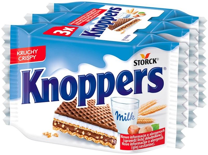 Knoppers Wafelek mleczno-orzechowy  3 x 25 g