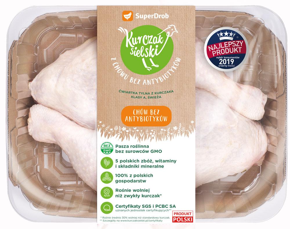 SuperDrob Kurczak Sielski ćwiartka tylna z kurczaka klasy A, świeża  z chowu bez antybiotyków, bez GMO