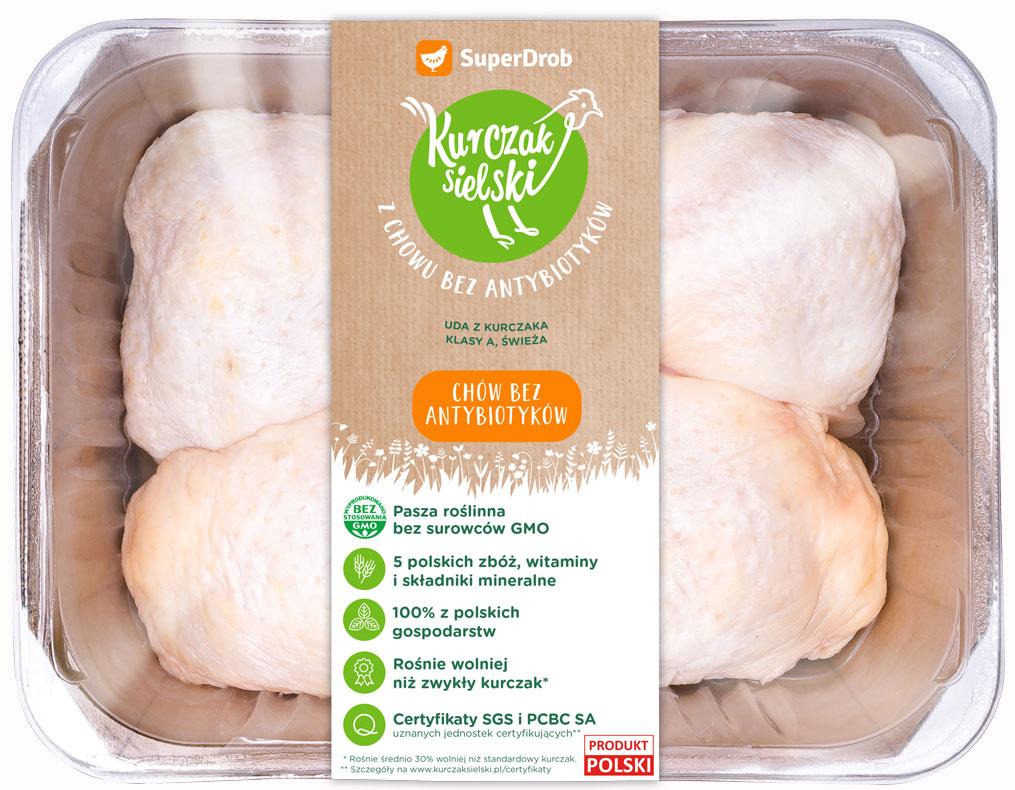 SuperDrob Kurczak Sielski  udo z kurczaka klasy A, świeże z chowu bez antybiotyków, bez GMO
