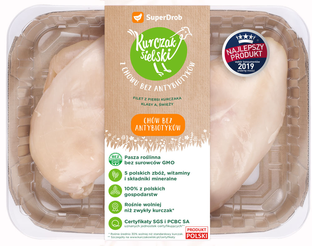 SuperDrob Kurczak Sielski  filet z piersi  kurczaka klasy A, świeży z chowu bez antybiotyków, bez GMO