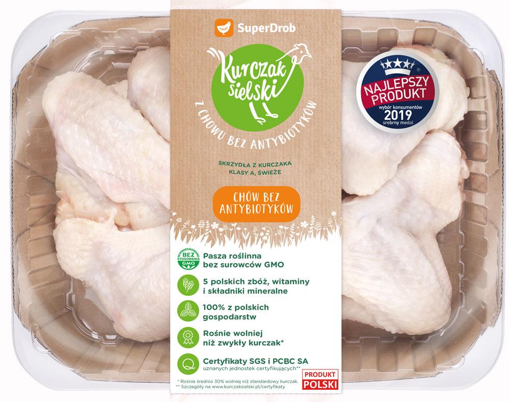SuperDrob Kurczak Sielski skrzydła z kurczaka klasy A, świeże z chowu bez antybiotyków, bez GMO