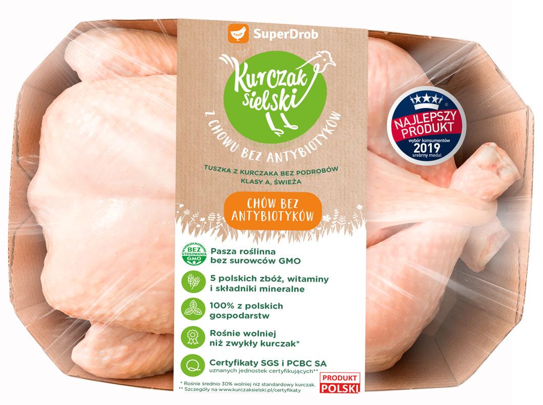 SuperDrob Kurczak Sielski tuszka z kurczaka bez podrobów klasy A, świeża  z chowu bez antybiotyków, bez GMO