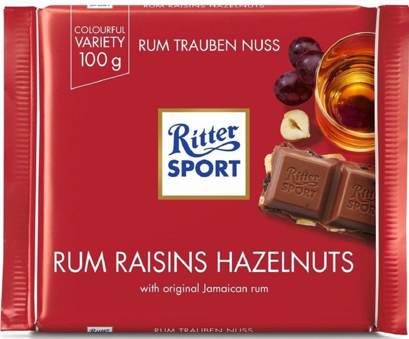 Ritter Sport Milk chocolate with raisins in Jamaica rum and chopped hazelnuts