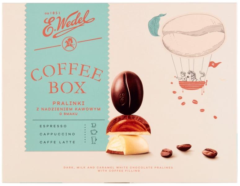 Wedel Coffee Box Pralinki z  nadzieniem kawowym o smaku espresso, cappuccino,  caffe latte