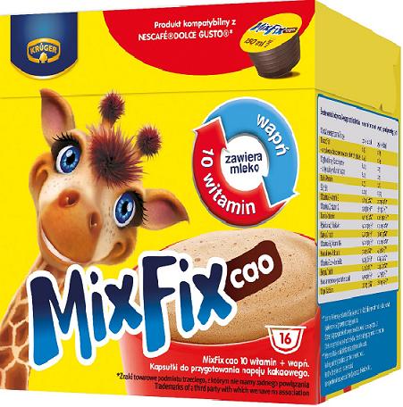 Mix Fix Cao 10 witamin + wapń Napój kakaowy w kapsułkach, kompatybilne z Dolce Gusto
