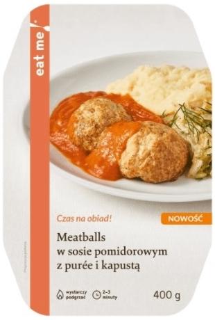 Eat Me Meatballs w sosie  pomidorowym z puree i kapusta