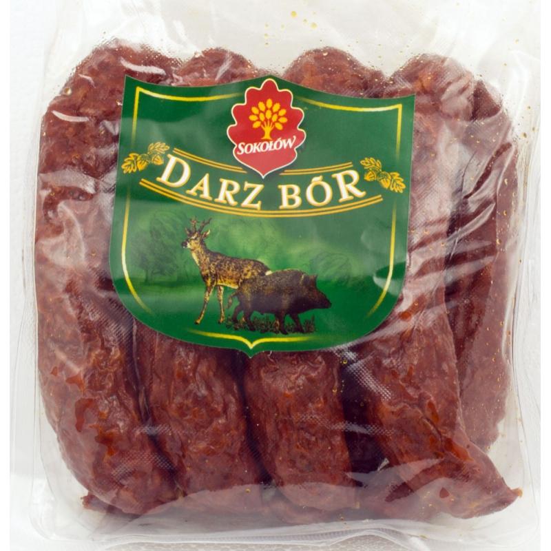 Salchicha de enebro Sokołów Darz Bór con venado, producto a peso