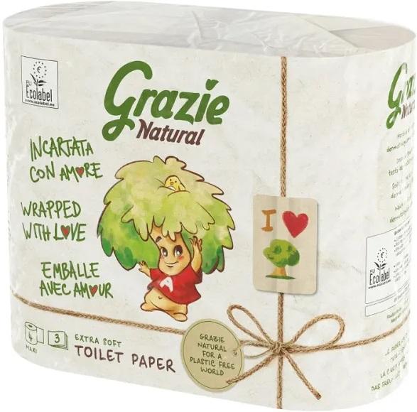 Grazie Natural papier toaletowy  3 warstwy, w 100% z recyklingu