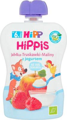 HiPP BIO HiPPiS Mus owocowy Jabłka-Truskawki-Maliny z jogurtem