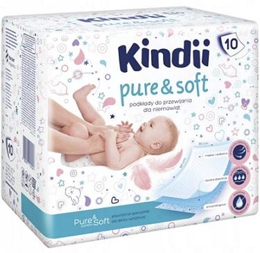 Kindii Pure&Soft podkłady do  przewijania dla niemowląt ze skóra wrażliwą 60x60 cm