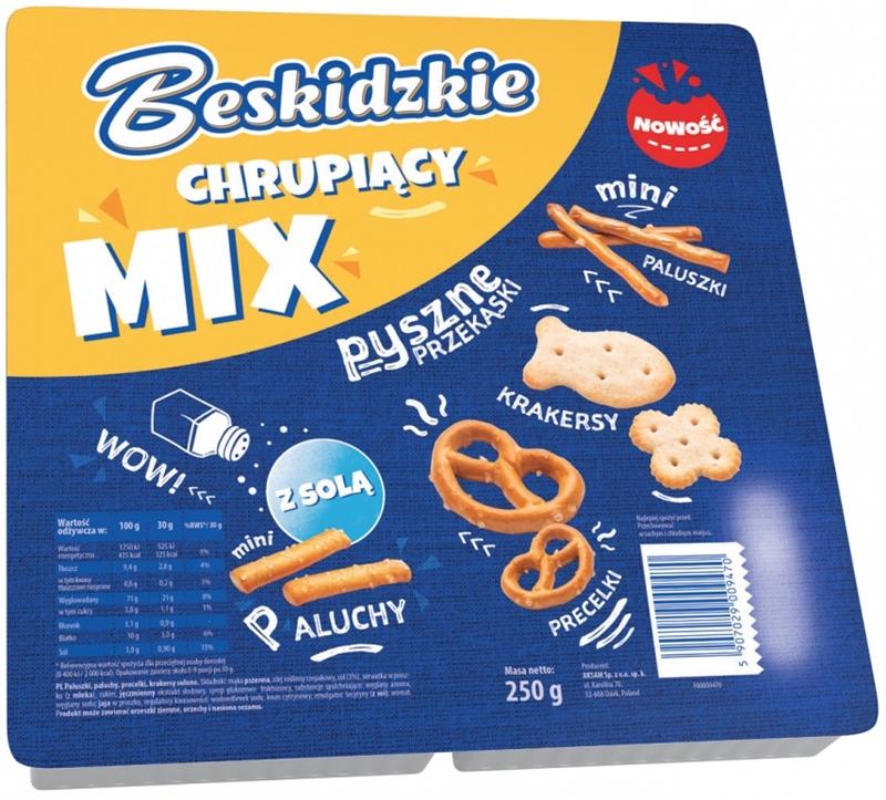 Aksam Beskidzkie Chrupiący mix paluszki, krakersy, precelki, paluchy