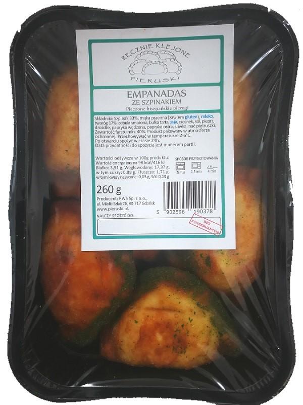 Pieruski Empanadas ze szpinakiem pieczone hiszpańskie pierogi, ręcznie klejone