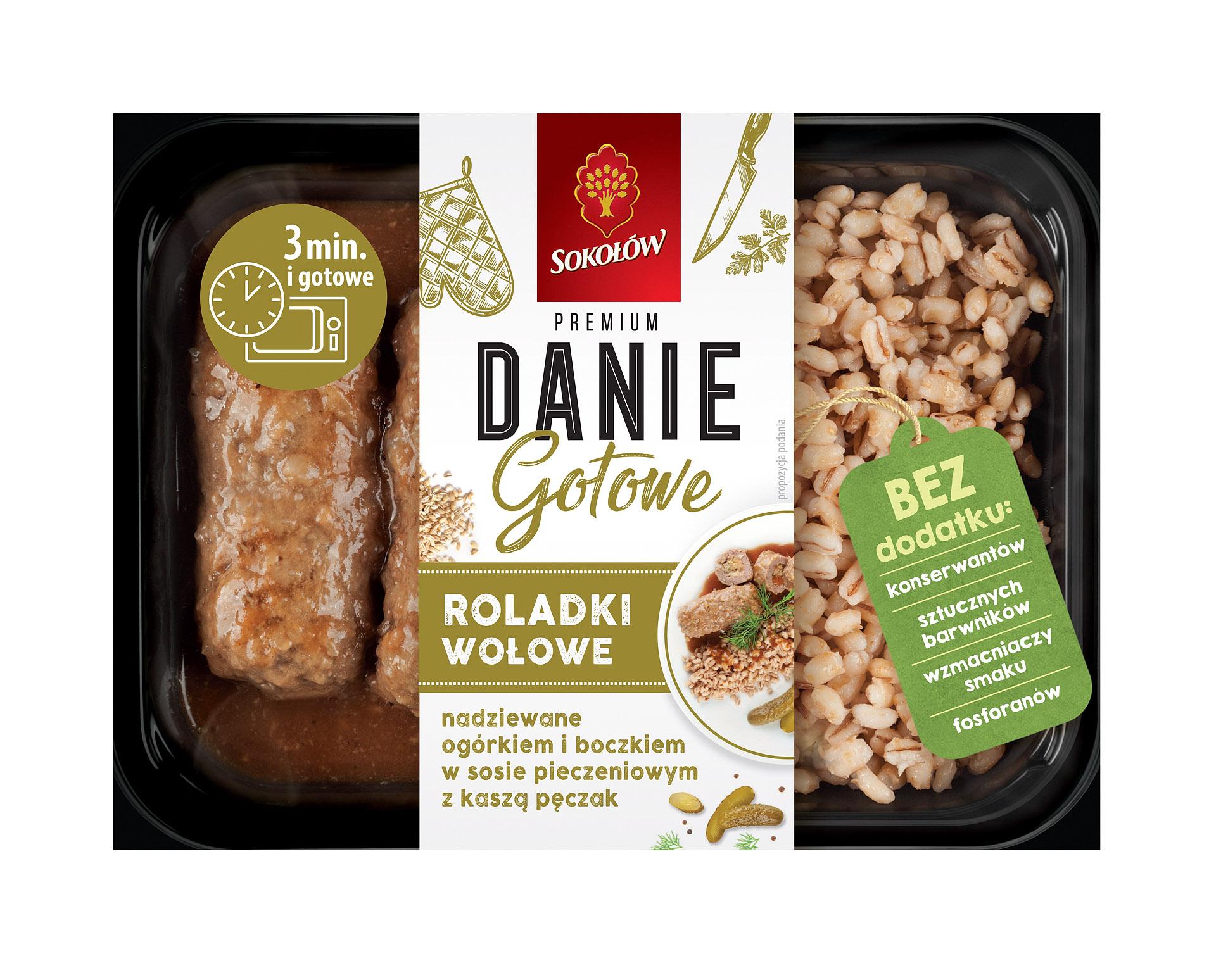 Sokołów Danie Gotowe Roladki wołowe nadziewane ogórkiem i boczkiem w sosie z kaszą pęczak