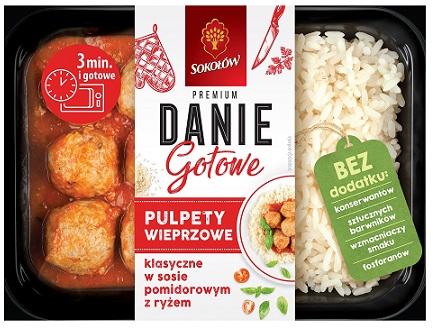 Sokołów Danie Gotowe Pulpety wieprzowe klasyczne w sosie pomidorowym z ryżem