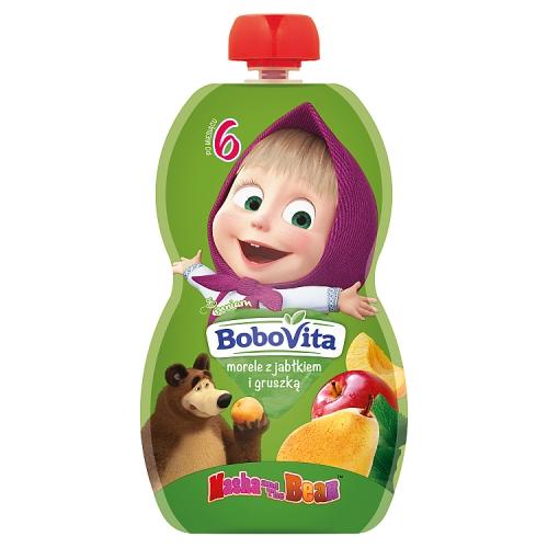 BoboVita mus w tubce Masha&Bear morele z jabłkiem i gruszką