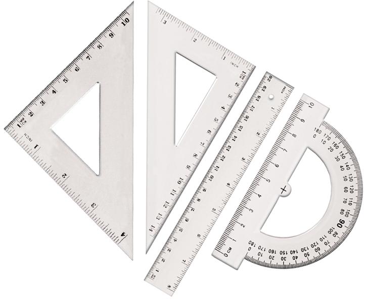 Tetis Zestaw geometryczny z linijką 20 cm