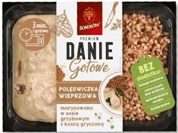 Sokołów Danie Gotowe Polędwiczka wieprzowa marynowana w sosie grzybowym z kaszą gryczaną