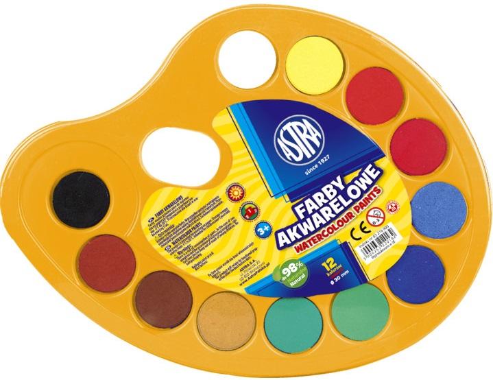 Astra Farby akwarelowe 12 kolorów paletka, fi 30 mm