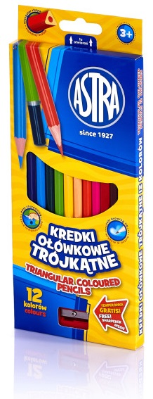 Astra Kredki ołówkowe trójkątne  12 kolorów z temperówką