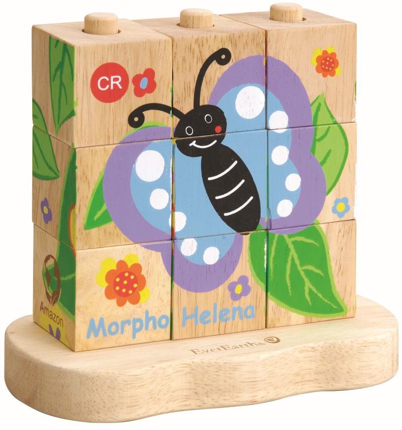 EverEarth Drewniane puzzle od gąsienicy do motyla
