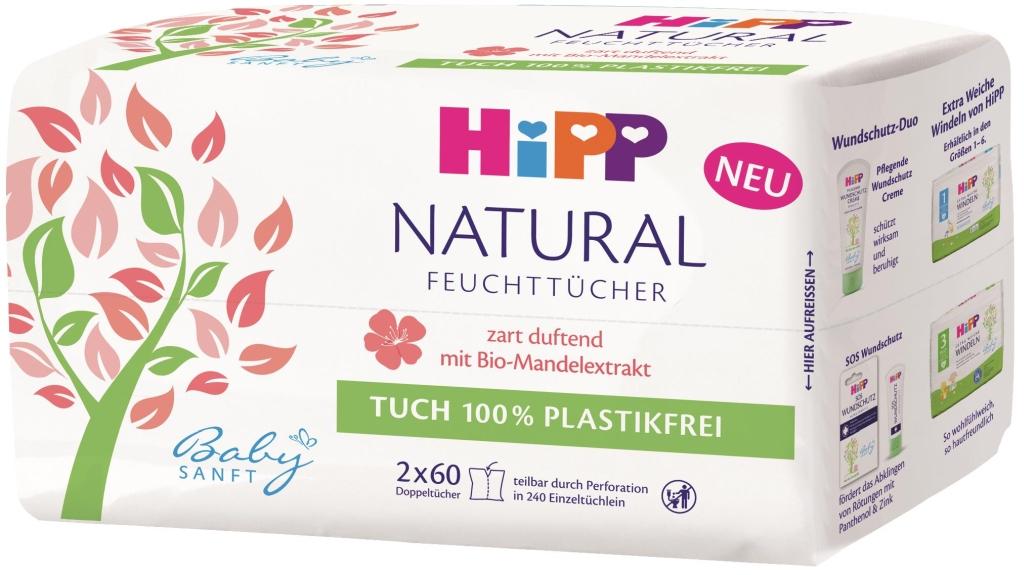 HiPP Chusteczki pielęgnacyjne NATURAL SOFT, 2x60 szt.