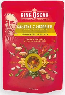 King Oscar Sałatka z Łososiem z  kuskusem, soczewicą i sosem Harissa w stylu Arabskim