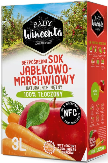 Sady Wincenta sok jabłkowo -  marchwiowy 100% tłoczony