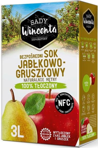 Sady Wincenta sok jabłkowo -  gruszkowy 100% tłoczenia