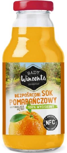 Sady Wincenta Sok Pomarańczowy naturalnie mętny 100% Tłoczony