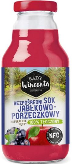 Sady Wincenta Sok Jabłkowo -  Porzeczkowy, naturalnie mętny 100% Tłoczony
