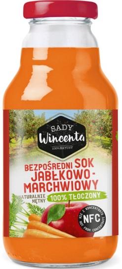 Sady Wincenta Sok Jabłkowo - Marchwiowy Naturalnie mętny 100% Tłoczony