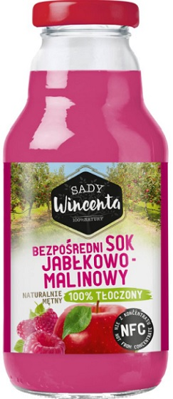 Sady Wincenta Sok Jabłkowo-Malinowy naturalnie mętny 100% Tłoczony
