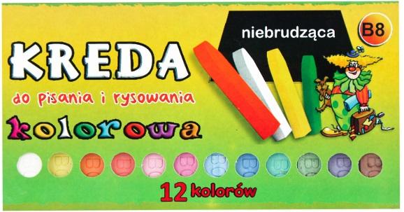Mar-Bor Kreda kolorowa niebrudząca  B8 12 kolorów