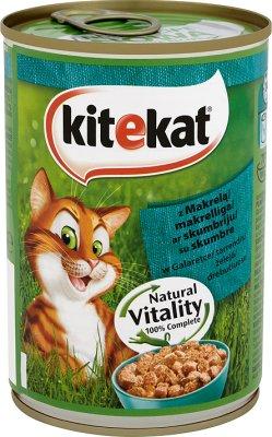 Kitekat - kawałki karmy w sosie, dla kotów - puszka  z makrelą