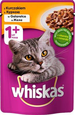 Whiskas Adult - mięsne kawałki w smakowitym sosie, dla dorosłych kotów - saszetka  z kurczakiem i wątróbką