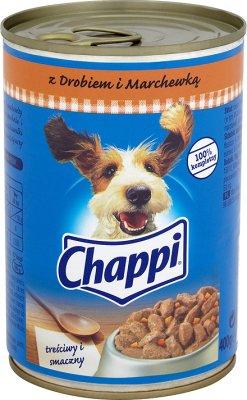 Chappi - mięsne kawałki w sosie, dla psów - puszka  z drobiem i marchewką