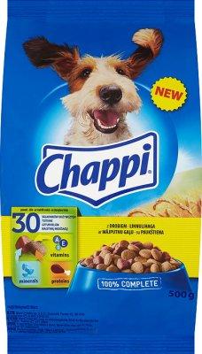 - La nourriture sèche pour chiens avec des morceaux croquants de sac volaille et les légumes 500g
