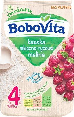 milky-rice porridge with modified milk with raspberries