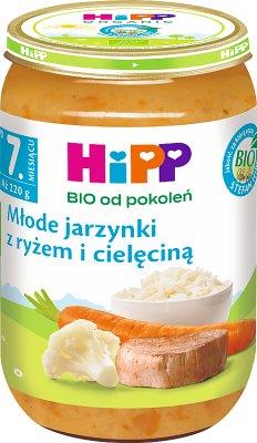 HiPP młode jarzynki z ryżem i cielęciną BIO
