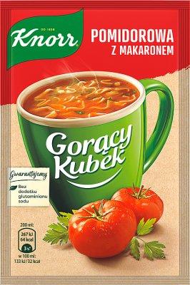 une tasse de soupe de pâtes de tomates en poudre