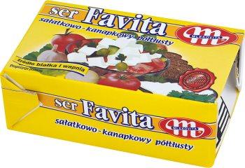 Favita Mlekovita ser typu feta z mleka krowiego  żółta - 12% tłuszczu