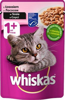 Whiskas Adult - mięsne kawałki w smakowitym sosie, karma dla dorosłych kotów z łososiem i pstrągiem