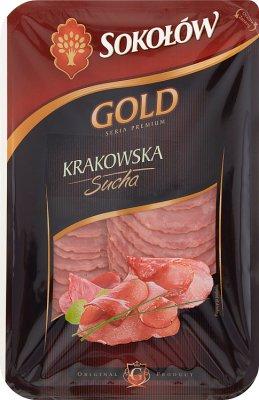 Gold- Krakau trockene Wurst , in Scheiben geschnitten