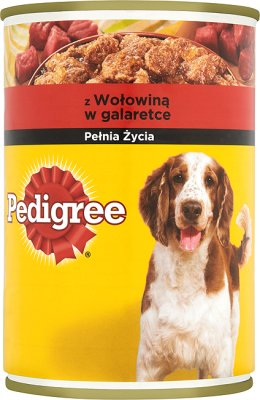 la nourriture pour les chiens adultes , une boîte de boeuf dans une délicate gelée