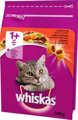 Whiskas Adult - sucha karma dla dorosłych kotów - worek  z wołowiną, marchewką i mięsnymi pasztecikami
